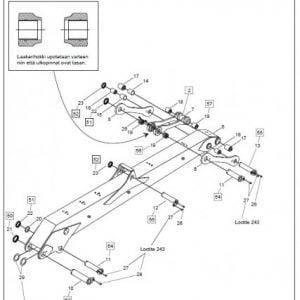 Akseli F61F/F71/F83F ja CF5 pylväs/nostopuomi, osa nr 10