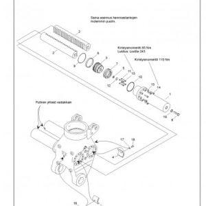 Kääntösylinterin putki L200/220V ja TJ210 , osa nr 1, 195 ast.