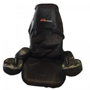 Istuinsuoja, musta, Mototarvikkeet.fi-logolla